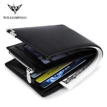 цена на WILLIAMPOLO Men Wallet Black Leather Clip Purse Card Coin Pocket Zipper Design bifolds Money Bag Male Business Cowhide Wallets