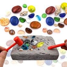 Crianças diy escavação brinquedo de mineração colorido gem modelo escavação arqueológica jogo educativo brinquedos para crianças presente natal