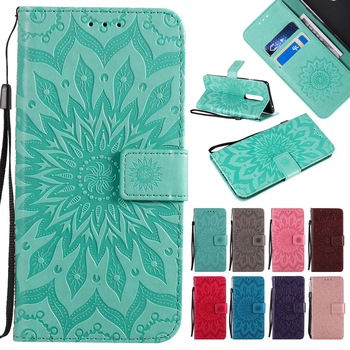 3D Wallet Flip Sunflower Leather Case For Samsung A3 A5 A6 A7 A8 A9 J3 J4 J5 J6 J7 J8 Plus 2018 2017 2016 Soft TPU Phone Cover image
