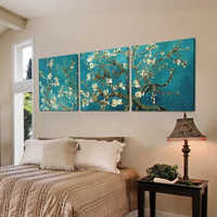3 Panels Van Gogh Life Lucky Tree Poster Painting Abstract Oil Tree Canvas Art Painting Apricot Flower Blooming Wall Pictures