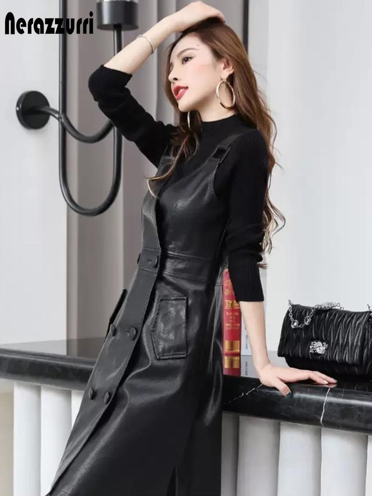 Nerazzurri Summer long black pu leather dress women Plus size strap midi faux leather dresses for women 2021 Womens fashion 5xl Women Women's Clothings Women's Dresses cb5feb1b7314637725a2e7: black