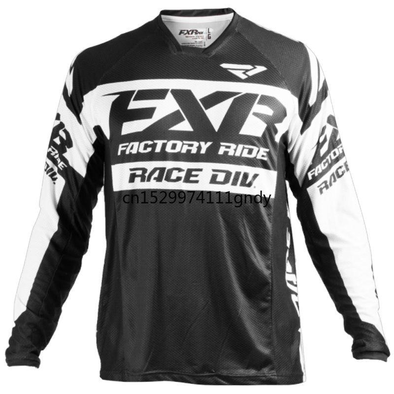 2020 FXR MTB MotoCross Jersey MX BMX Off-Road Motorcycle Racing Long Sleeve T-shirt for Moto GP Racing Wear Black Jersey