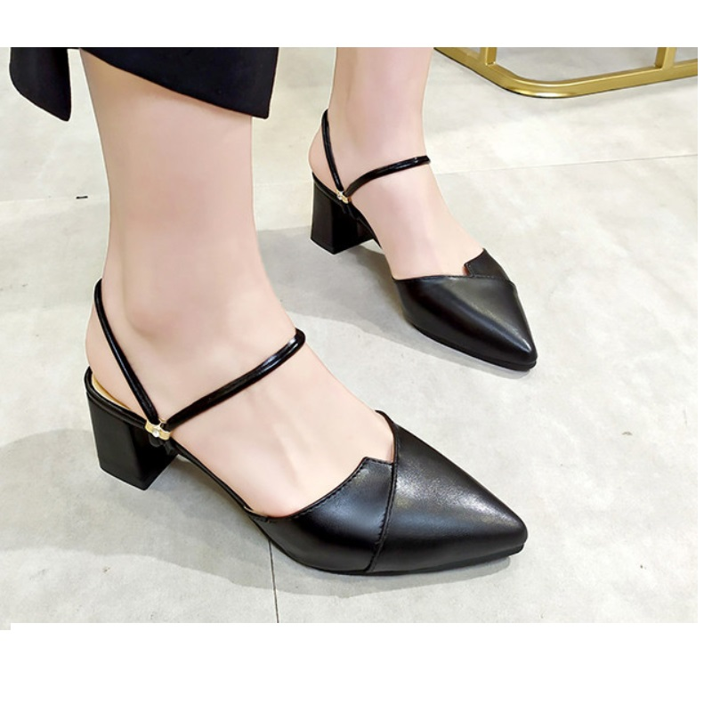 Square Heels Sandals Female Pumps Shoes Woman Slingback on Flock Autumn Spring Slip Solid-Point