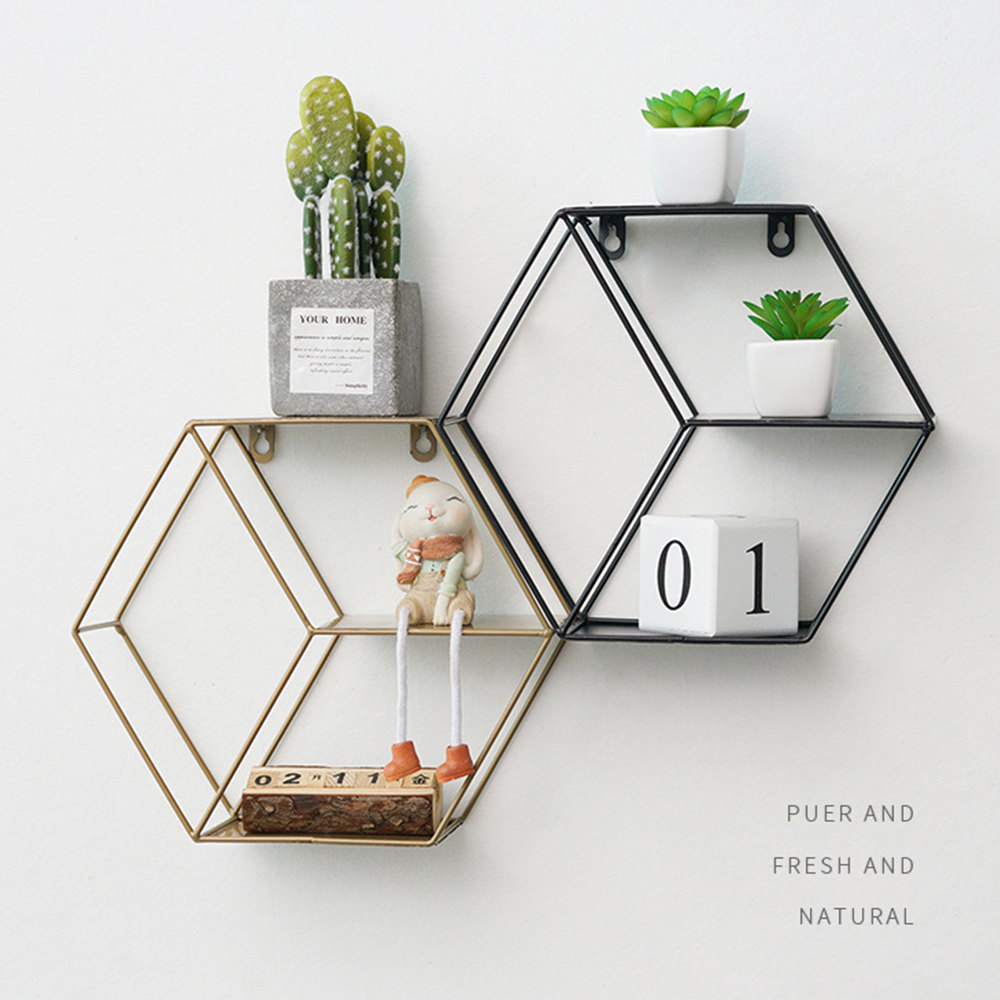 Nordic Style Wall Storage Shelf Holder Rack Shelves Metal Home Decor Hexagon Wall Decor Potted Ornament Storage Holder Organizer