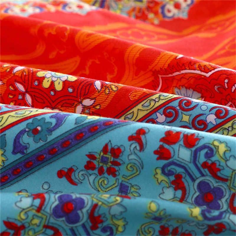 Juego de edredón bohemio colorido Boho Floral ropa de cama Indio Tribal exótico edredón funda de cama de lino a rayas juegos de cama