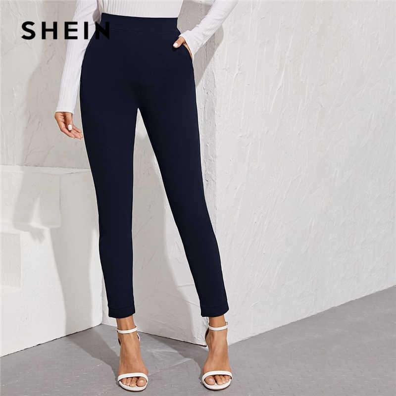 SHEIN เอวกระเป๋าด้านข้างแยก Hem Elegant กางเกงผู้หญิงกางเกงฤดูใบไม้ร่วงสูงเอวสุภาพสตรีผอมกางเกง