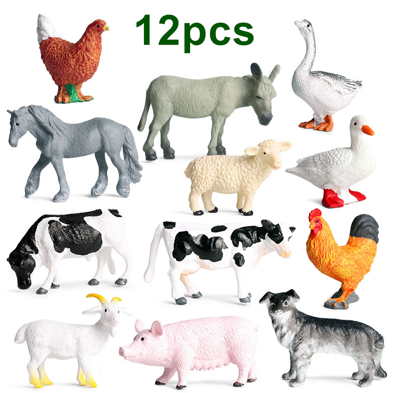 New 12pcs/lot Mini Farm Poultry Animals Action <font><b>Figures</b></font> Simulation Models Pig Duck Hen Goose <font><b>Horse</b></font> Cow Dog Goat Role Play Toys image