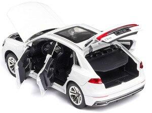 Image 3 - 1:24 audi Q8 SUV pojazd terenowy model wysokiej symulacji aluminiowy model samochodu z dźwiękiem światła wycofać dziecięca zabawka samochód darmowa wysyłka