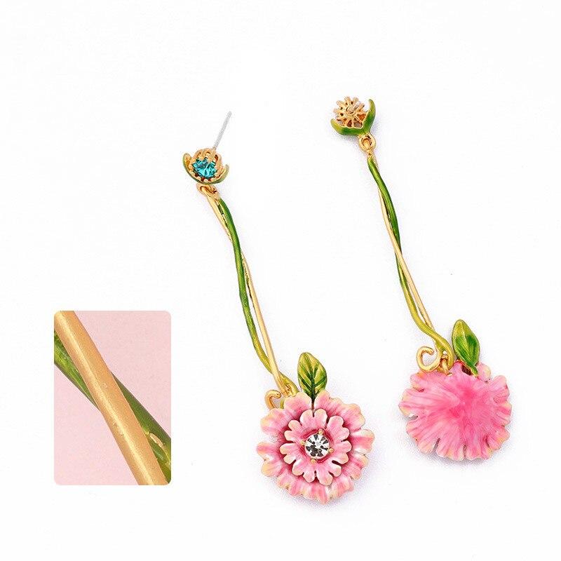 Fashionable Long Hand-painted Enamel Pink Peony Flower Earrings Clip Women
