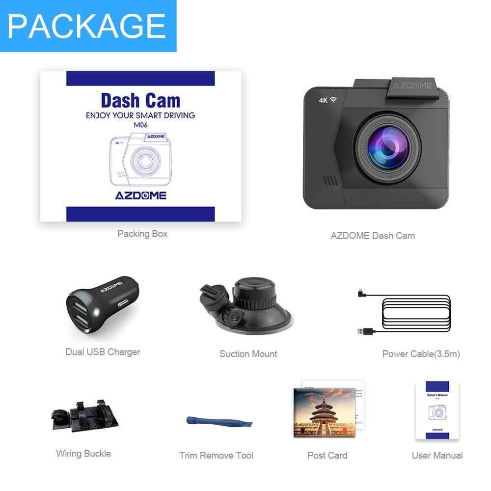AZDOME 4K/2880*2160P cámara de salpicadero WiFi Coche DVRs grabadora M06 lente Dual cámara trasera de vehículo integrado GPS WDR visión nocturna Dashcam