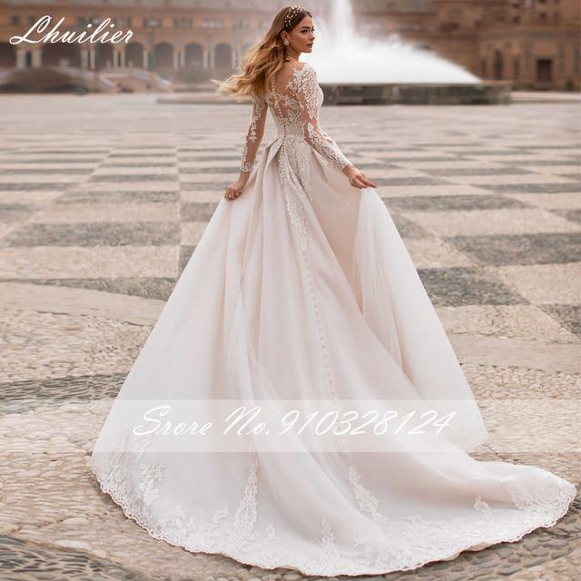 Lhuilier A-line Scoop Neck Beaded Wedding Dresses 2021 Lace Appliques Long Sleeves Court Train Floor Length Bridal Dress 2