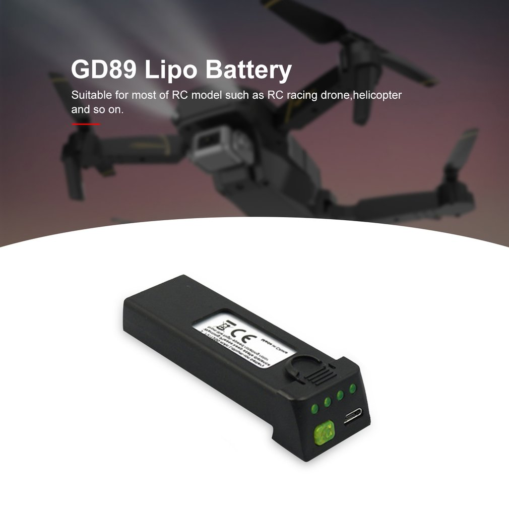 <font><b>3.7V</b></font> <font><b>1200mah</b></font> <font><b>Lipo</b></font> <font><b>Battery</b></font> Replace Rechargeable <font><b>Batteries</b></font> For GD89 FPV RC Drone Spare Parts Accessories image
