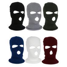 Unisex kış sıcak 3 delik kayak maskesi Balaclava örme şapka yüz kalkanı bere kap açık bisiklet taktik askeri tam yüz maske
