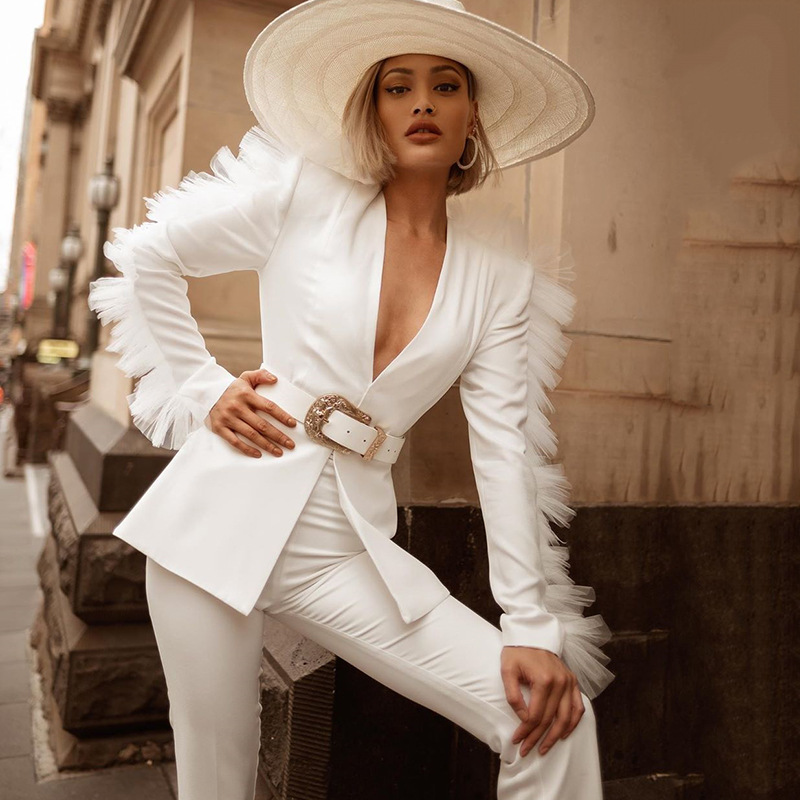 2019 Korean chic lace patchwork Sexy Two Piece Sets women outfits Long Sleeve 2 piece set Blazer and Shorts White Suit vintage