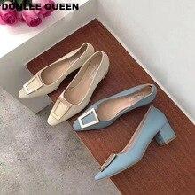 DONLEE QUEEN Fashion Pumps Shoes Women Square Heel Metal Buckle Low Casual Shoe Slip On Autumn Footwear zapatillas de mujer