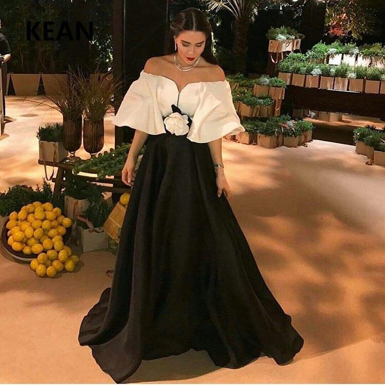 Black And White Evening Dress Off The Shoulder Flower Islamic Dubai Kaftan Saudi Arabic Prom Dress Vestidos De Festa