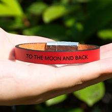 Mantra Men Genuine Leather Magnetic Bracelet Unisex Gift Custom Engraving Personality Fashion Jewelry