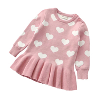 Dress Sweaters Long-Tops Knitted Toddler Baby-Girls Kids Winter Solid Warm