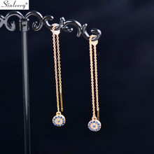SINLEERY Wine Glass Round Design Long Earrings Yellow Gold Color Blue Cubic Zircon Crystal Drop Earrings Women Jewelry ES777 SSD(China)