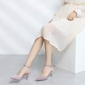 Image 3 - Chaussures à talons hauts fins et Sexy pour femme, chaussures de bureau, professionnel, deux pièces élégantes avec lanière à la cheville, sandales à talons, tendance 2020