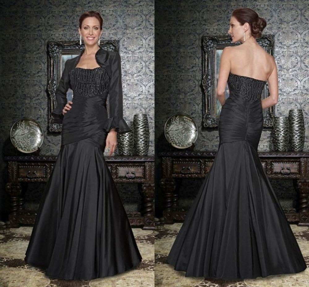 Hot Selling Long Black Taffeta Mother Of The Bride Dresses With Long Sleeves 2016 Long Mermaid Evening Formal Dress With Jacket