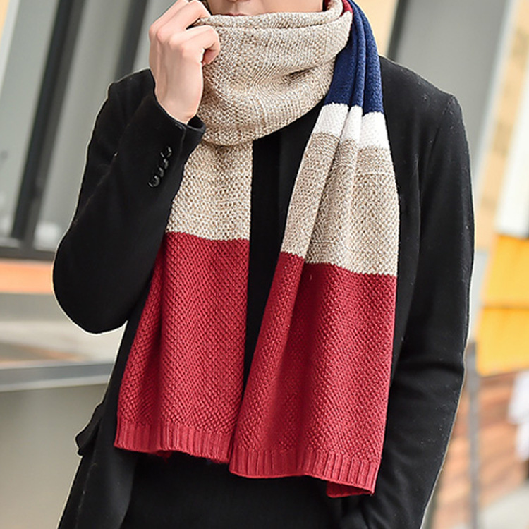 Autumn And Winter New Style MEN'S Scarf Korean-style Thick For Both Men And Women Versatile Yarn Knitted Scarf