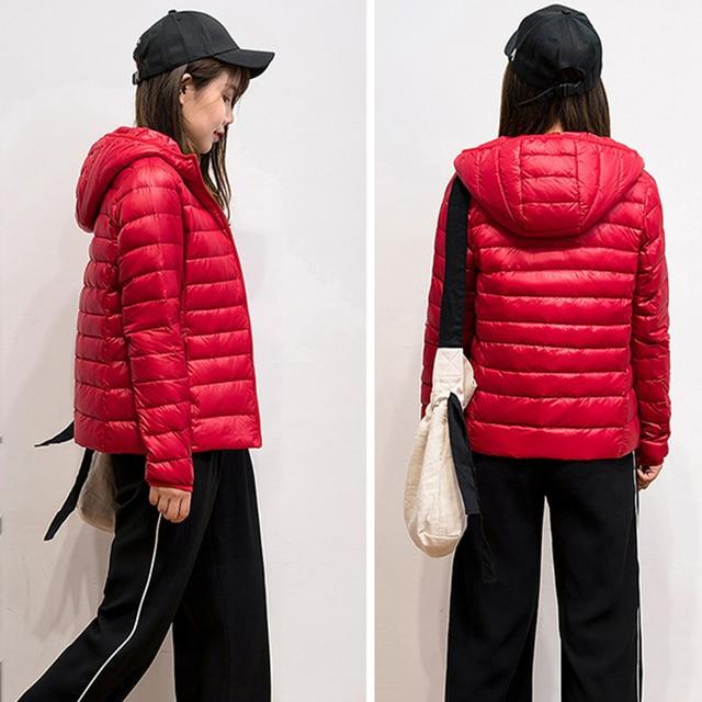 2019 New Brand 90% White Duck Down Jacket Women Autumn Winter Warm Coat Lady Ultralight Duck Down Jacket Female Windproof Parka 5