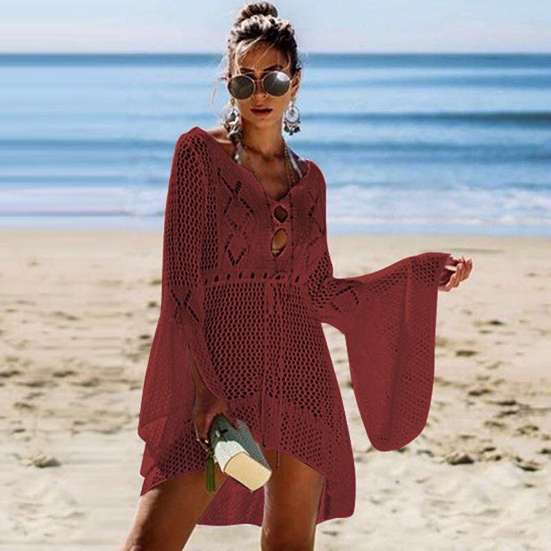 2019 Crochet White Knitted Beach Cover up dress Tunic Long Pareos Bikinis Cover ups Swim Cover up Robe Plage Beachwear