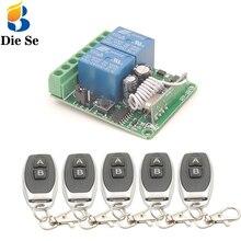 433MHz evrensel kablosuz uzaktan DC12V 10A 2CH rf röle ve verici uzaktan garaj/kapı/ışık/Fan/Ev aletleri kontrol
