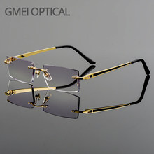 Gmei Optical Fashionable Frameless Titanium Alloy Glasses Plain Lenses Diamond Cutting Rimless None Diopters Optical Eyeglasses
