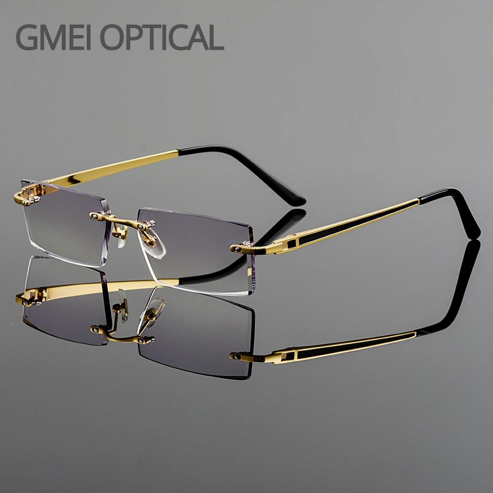Gmei optique à la mode sans cadre en alliage de titane lunettes lentilles simples coupe de diamant sans monture aucune dioptries lunettes optiques