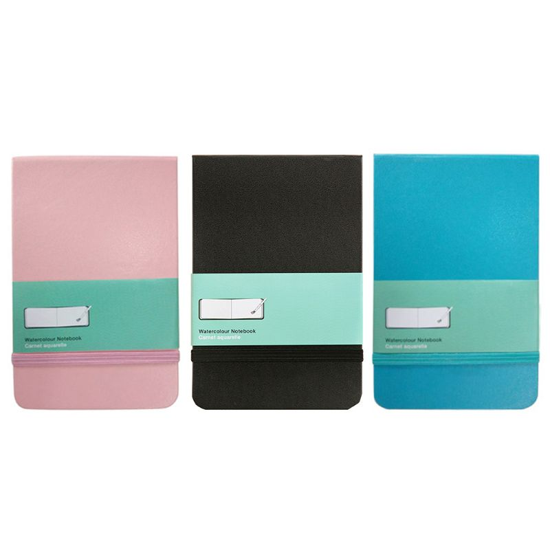 PU Leather Cover Watercolor Book A6 Paper Hand Book Hand-painted Sketch Travel Portable Painting Art Supplies