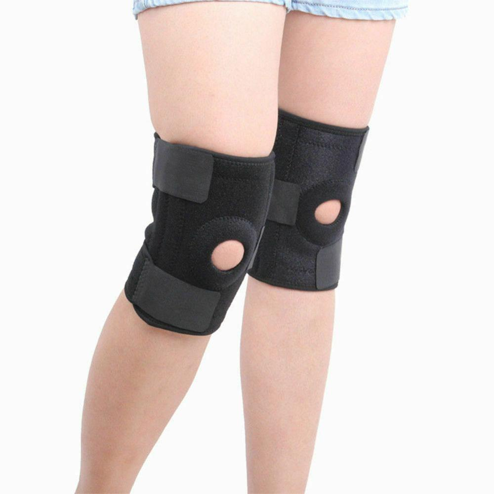 Black  Adjustable Open Knee Patella Tendon Support Brace Sleeve Sports Pads running Protective Spring