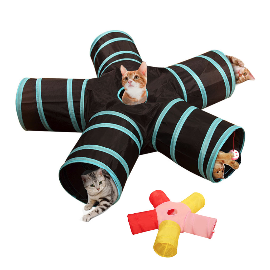 Foldable Pet Cat Tunnel Toys 2/3/4/5 Holes Pet Cat Training Toy Interactive Tube Fun Toy For Cat Rabbit Animal Play Tunnel Tube image