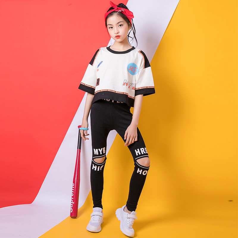 2019 Girls Clothes Hiphop Dance Costume Kids Black Fitness Pant 2pcs Suit Kids Ropa Hip Hop Clothes Stage Street Wear BL2017
