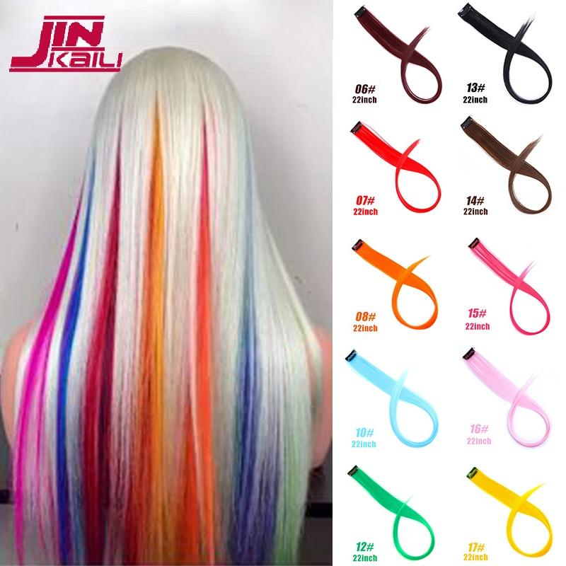JINKAILI длинные прямые синтетические волосы для наращивания на заколках, одна штука, радужные полоски, розовые шиньоны, Спортивные фанаты
