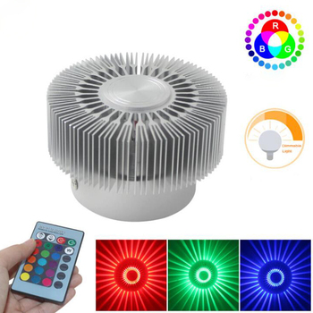 3W Mounted LED Wall Light RGB Effect Lamp Sunflower Projection Rays AC85-265V Remote Control Corridor Wall Lamp