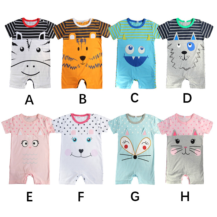 2018 Summer Newborn Baby Boy Girl Romper Short Sleeve Jumpsuit Cartoon Animal Printed Baby Rompers Baby Clothes 1 9 12 M