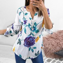 цена на 2019 Lady Casual Floral Printed Tops Shirt Fashion Women Loose Top 3/4 Sleeve V-neck Blouse Hot Sale Women's Leaf Print Shirt