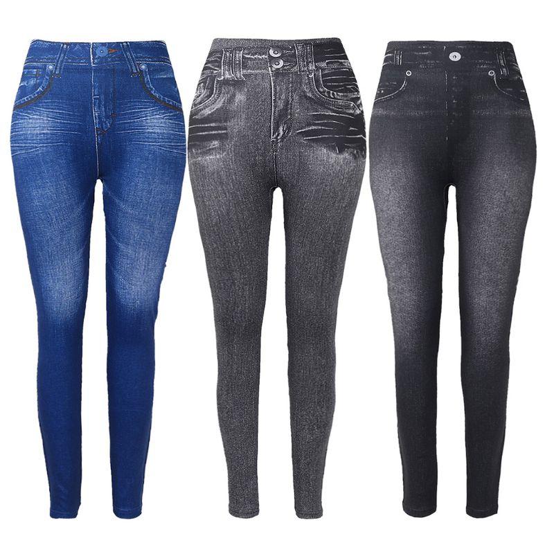 Women Fleece Lined Winter Jeggings Faux Jeans Seamless High Waist Slim Fashion Jeggings Leggings Women Fitness Pants