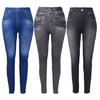 Women Fleece Lined Winter Jeggings Faux Jeans Seamless High Waist Slim Fashion Jeggings Leggings Women Fitness Pants jeggings ironi