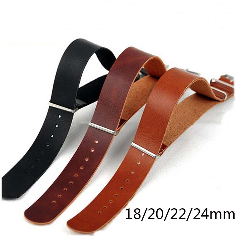 High Quality Leather ZULU Strap Strap NATO Imitation Leather Strap 18mm 20mm 22mm 24mm Watch Adjustment Replacement Accessories(China)