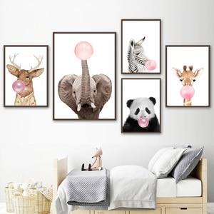 Постер для детской комнаты со слоном, пандой, оленем, животными, розовыми пузырями, холст с рисунком, настенные художественные картины для м...