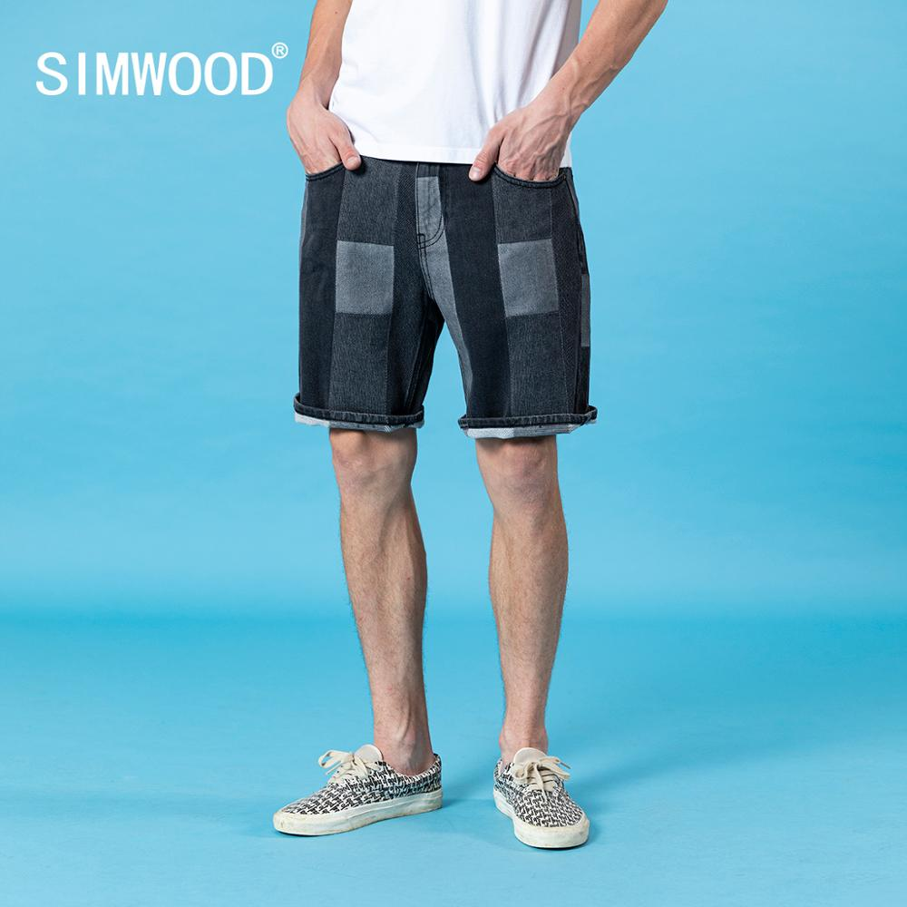SIMWOOD 2020 Summer Denim Shorts Men Patchwork Contrast Color Plus Size Fashion Stonewashed 100% Cotton Shorts SJ130384