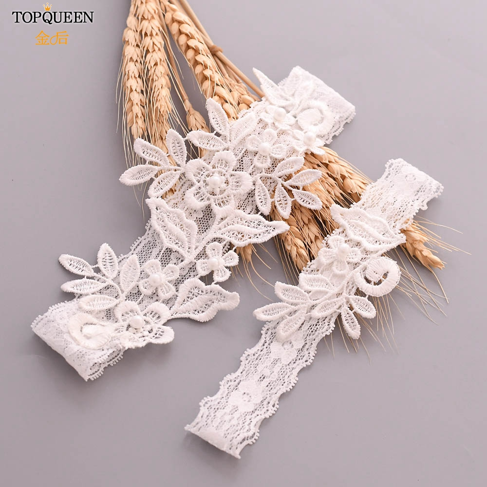 TOPQUEEN TH25 TH26 2pcs/Set Wedding Garters Lace Embroidery Floral Sexy Garters for Women/Bride Thigh Ring Bridal Leg Garter