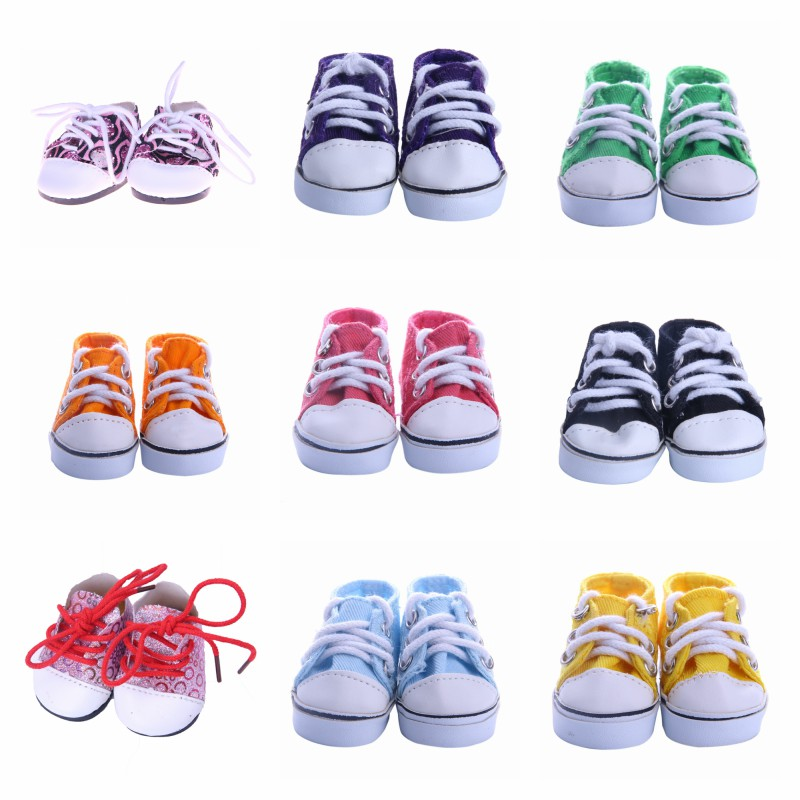 Doll Shoes Colorful Leather Canvas Shoes Best Sweet Gift For 14.5 Inch Nancy Wellie Wisher For Our Generation Baby Girl`s Toy