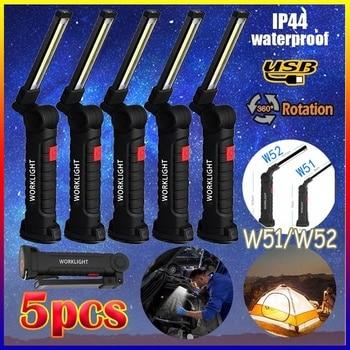 5 Mode Torch Folding Rechargeable COB LED Slim Flashlight Inspection Lamp Magnetic Work Light Camping Pocket Light 1