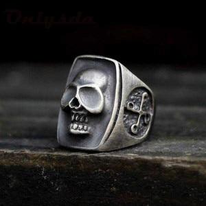 Gothic Vintage 316L Stainless Steel Cool Skull Men's ring Punk Rock Bearded Biker Jewelry Christmas Halloween Gife OSR605