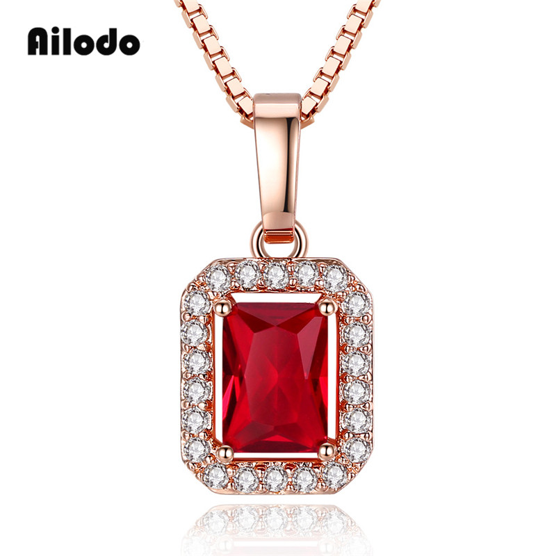 Ailodo Luxury Red CZ Women Pendant Necklace Gold Color Long Chain Party Wedding Statement Fashion Jewelry Gift LD261