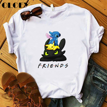 Pokemon Stitch Toothless Friends Harajuku T Shirt Women Kawaii Pikachu Cartoon T-shirt Cute Anime Gr